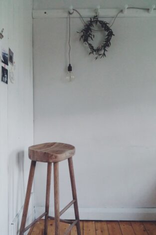 oak stool and Edison lamp, both Olive & the Fox