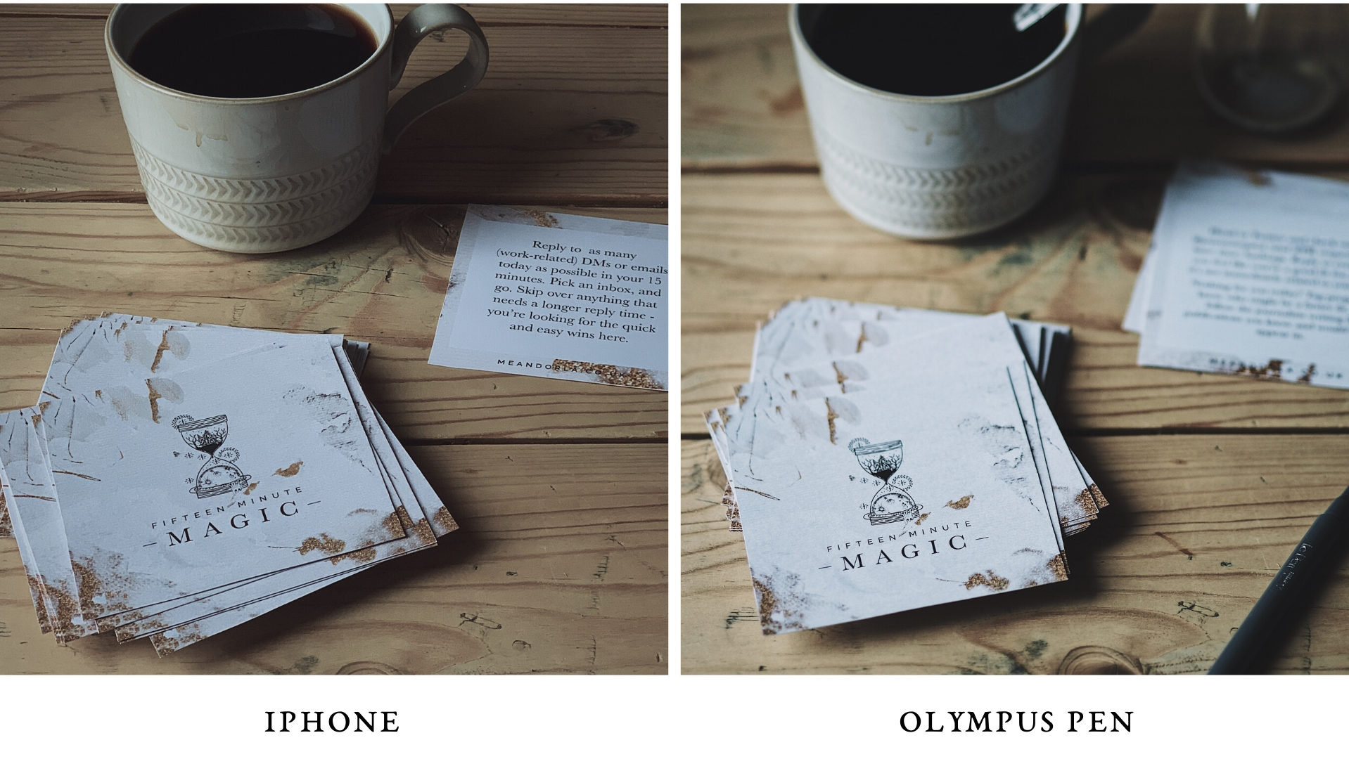 15 Minute Magic cards - iPhone Olympus PEN comparison photo