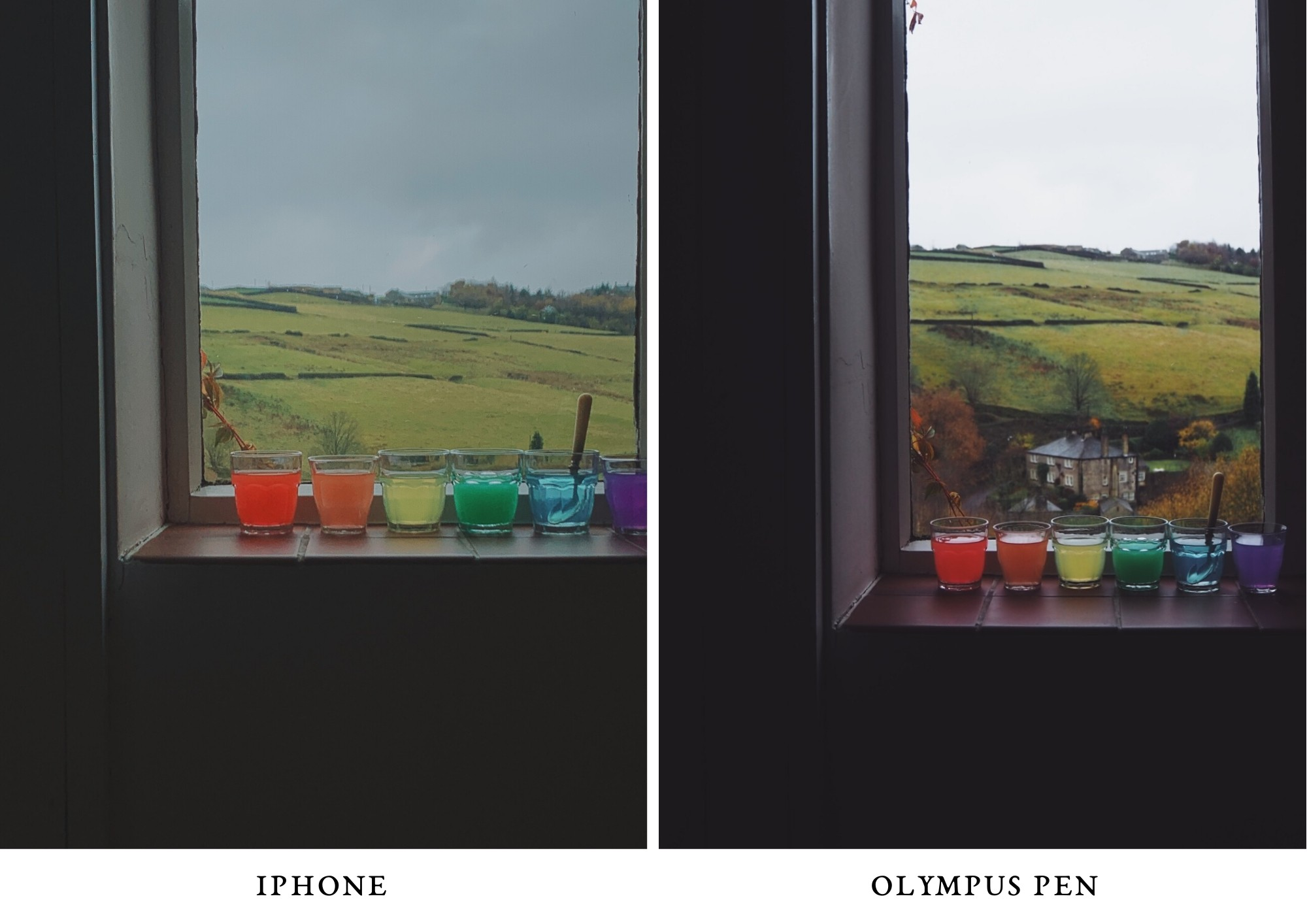 rainbow water - photo olympus PEN and iPhone comparison